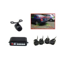 Wholesale Cmos Sensor Chip - car DVD parking sensor PZ622 TFT rearview mirror four sensors 1 3 CMOS 3089 chip backup camera 64 colors to choose Free dhl