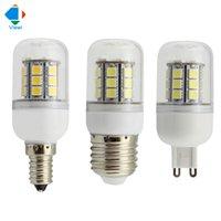 Wholesale 24v G9 Led Bulb - 50X 24 volt led bulbs 12v E14 E27 G9 5w corn lamp smd 5050 27leds high bright 360 degree bombilla clear cover bulb lighting