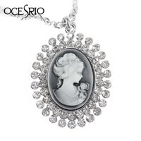 Wholesale Cameo Necklace Crystals - Wholesale-2016 Brand New Cameo Long Pendant Necklace for Women big pendant long necklace with crystals fashion jewelry nke-f46