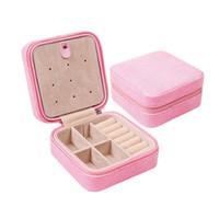 Wholesale Best Jewelry Storage - Mini Travel Portable Leather Jewelry Box Cosmetic Makeup Organizer Earrings Casket Three-tier Storage Box Best Gift ZA3461