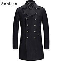 Wholesale single button pea coat - Wholesale- Anbican 2016 Winter Black Wool Coat Men Luxury Brand Double Breasted Long Cashmere Overcoat Mens Slim Fashion Pea Coat XXL XXXL