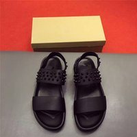 Wholesale Gladiator Sandal Buckles Rivets - brand designer high-end custom rivet nail cowhide round flat sandals fashion trend luxury men shoes comfortable cummer cowhide nail sandals