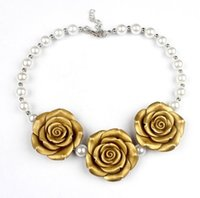 Wholesale Kids Dress Up Jewelry - Fashion new pearl rose flower necklace toddler jewelry kids necklace For Dress up 7 colors free ship
