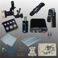 Wholesale Tattoo Complete Disposable Kits - Complete Tattoo Kits Tattoo Guns Machine Black Tattoo Machine Power Supply Disposable Needle Free Shipping 1100635-1kitA