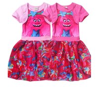 Wholesale Cartoon Chinese Dresses - Trolls clothes Cartoon Trolls baby girls dresses short sleeve children poppy skirts best price with top quality