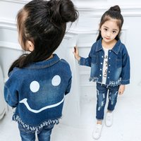 Wholesale Denim Jackets Toddler - Girls Spring Coat Kids Clothing Fall Denim Jackets Smile Print Tassel Children Outerwear Fashion Toddler Clothes New