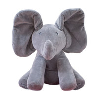 Wholesale Easter Animated - 30CM Plush ANIMATED FLAPPY the ELEPHANT plush toy PEEK A BOO SINGING baby music toy Ears Flap & Move funny toys