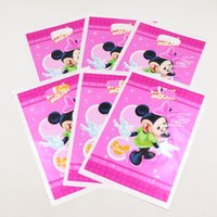 Compra Sacchetti Del Regalo Del Mouse Di Minnie All'ingrosso-Borse All'ingrosso-Minnie tema del fumetto di plastica del regalo per la ragazza di compleanno dei capretti decorazioni per feste Candy Bag Party Favors 20pcs / lot