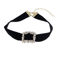Wholesale Wide Choker Necklaces - Latest Design Black Suede Fabric Wide Choker Necklaces with Rectangle Metal Full of Rhinestones for Women