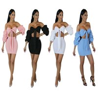 Wholesale Wholesale Womens Bow Tops - Womens Two Piece Dress Lantern Sleeve Bowknot Bandage Tube Top + Pencil Mini Dress   4 Color S-XL   Wholesale Cheap DHL Fast Shipping