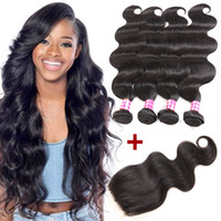 Wholesale Virgin Closures For Cheap - Top Mink Brazilian Virgin Hair Body Wave 4 bundles with Closure Cheap Remy Human Hair Extensions for Black Women Unprocessed Weaves Closure