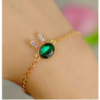 Wholesale Bunny Charm Bracelet - 2016 Fashion Jewelry Cute Bunny Rhinestone Charm Bracelets & Bangles Blue Glass Bracelets For Women Gift Pulseira Feminina