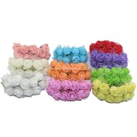 mini ramo de flores artificiales al por mayor-Al por mayor- 144pcs / paquete 2.5CM Seda Flores Artificiales Multicolor PE Rose espuma Mini ramo de flores Color sólido / decoración de la boda 5ZJS013