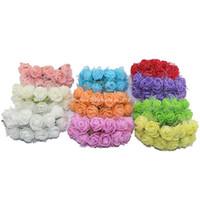 mini-sträuße großhandel-Großverkauf-144pcs / Paket 2.5CM Silk Multicolor künstliche Blumen PET Rose Schaum Mini Blumenstrauß einfarbig / Hochzeit Dekoration 5ZJS013
