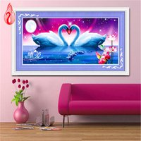 Wholesale Two Swans Painting - YGS-121 DIY 5D Diamonds Embroidery Only Love Two swans Magic cube Round Diamond Painting Cross Stitch Diamond Mosaic Home Decor