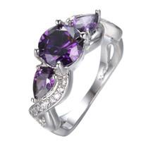 Wholesale Wedding Ring Designs White Gold - JUNXIN Male Female Purple Ring Fashion Round & Water Drop Design White Gold Ring Vintage Wedding Rings For Women