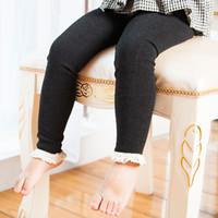 Wholesale Lace Leggings Childrens Wholesale - Girls Leggings 2017 Autumn Winter Style Childrens Clothing Baby Girls Mesh Spliced Ankle-length Pants Lace Slim Leggings Kids Pantyhose