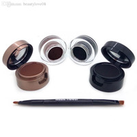 коричневый глазной гель оптовых-4 in 1 Black+Brown/Black+Blue Gel Eyeliner And Eyebrow Powder Makeup Waterproof Cosmetics Set Eye Liner Kit Music Flower