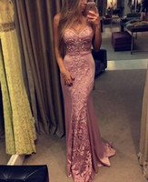 Wholesale Hunter Figures - 2017 New Elegant Figure Flattering Mermaid Prom Dresses Lace Appliques Sleeveless Dresses Evening Wear Custom Made Party Gowns