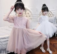 Wholesale Girls Dressess - Big Girl Dress 2017 Summer Junior Girls Dressess Teenager Kids Girls Tulle Dress for Party Children Xmas Clothing S861
