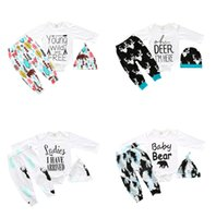 Wholesale Toddlers Animal Hats - Christmas Baby outfits Baby clothing Letters 16 Styles Bear Arrow Baby romper Long sleeve +pant+hat Three-piece Toddler clothes sets 2017