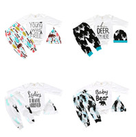 Wholesale baby bear romper piece resale online - Christmas Baby outfits Baby clothing Letters Styles Bear Arrow Baby romper Long sleeve pant hat Three piece Toddler clothes sets