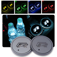 Wholesale vw golf mk6 led resale online - 2pcs set Car Multicolor LED R Cup Coaster for Volkswagen VW Golf GTI Scirocco passat B6 Touran Tiguan Jetta MK4 MK5 MK6 POLO CC
