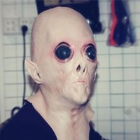 Frete Grátis Atacado-Scary Silicone Face Mask Alien UFO Extra ET Horror Rubber Latex Full Masks For Halloween Party