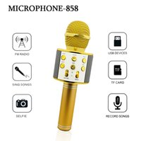 Wholesale Usb Conference Microphone - 858 Wireless Microphone Hifi Speaker Karaoke Sing Songs FM Radio Selfie USB Devices TF Card Record Songs for Android system Mobile Phone