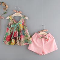Wholesale Girls Winter Pants - Summer kids clothes girl floral shirt+pink pants 2 pcs set children short sleeve bowknot clothes suit
