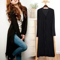 Wholesale Womens Maxi Coat - Spring Womens Casual Long Sleeve Cardigan Knit Knitwear Soft Modal Bamboo Sweater Coat Long Maxi Wraps Outwear