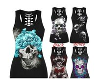 Wholesale Punk Skull Print - New Sexy Skull Print Tank Tops Black Plus Size Casual Summer Punk Street Tops