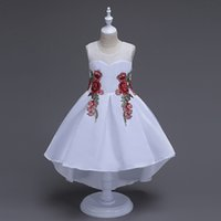Wholesale White Knee Length Tube Dress - silk china fashion ball gowns girls kids puff dresses sleeveless party dresses girls children lace tube evening dress summer birthday party