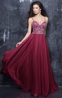 Wholesale Wine Red Silk Shirt - 2018 Spaghetti Straps Weddings Guest Evening Dresses A-line Wine Beaded Crystal Chiffon Prom Party Gowns Elegant 2017 New