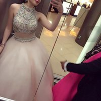 Wholesale Closed Neck Evening Gown - Hand Made Beading 2 piece suit robe de soiree Tank Long Evening Dresses close back dress Gowns Prom Gowns