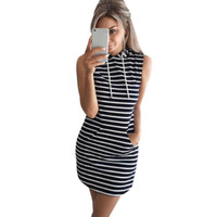Sommer Herbst Frauen Casual Hooded Pocket Mini Kleid Weibliche Streifen Slim Bodycon Sexy Party Club Kleider Vestidos