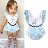 Wholesale Lace Shorts Romper - INS Europe and America styles Baby kids summer short sleeve sling Princess lace romper clothes girl infant romper free shipping