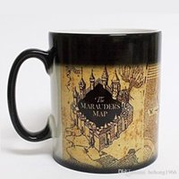 Wholesale Harry Potter Birthday - Creative Mugs Harry Potter Marauders Map Ceramic Cup Discolored Round Shape With Handle Mugs For Birthday Party Gift 7yr R