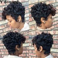 Wholesale wig for cutting resale online - Wigs for black women Pixie cut short human hair wigs for black women bob full lace wigs with baby hair for Africans