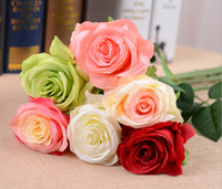 Wholesale Artificial Flower Silk Rose Bouquet - Wholesale 100PCS MOQ 20.5inch Artificial white rose bouquets real look silk rose Flowers 7 color mix decorative hotel Wedding Home vase