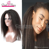Wholesale Glueless Kinky Straight Hair - Glueless Full Lace Wigs Kinky Straight Indian Hair Virgin Human Hair Lace Wig Lace Front Wigs for Black Women For Greatremy