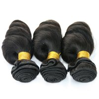 Wholesale Cheap Brizilian Hair - .Bouncy Curly Brazilian Peruvian Malaysian Indian Loose Wave Human Hair Weave Cheap Loose Curl Brizilian Hair Extensions 3 Bundles Deal