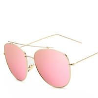 Wholesale High Quality Aviator Glasses - Fashion Aviator Sunglasses Women Brand Designer 2017 Sun Glasses For Lady High Quality Sunglass Female Mirror Glasses oculos de sol With Box