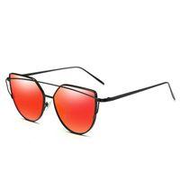 nueva marca rosa roja al por mayor-Gafas de sol de las mujeres vendedoras calientes Nuevo ojo de gato Diseño de la marca HD Espejo plana Rose Gold Vintage Cateye Moda gafas de sol rojas señora Eyewear para el recorrido
