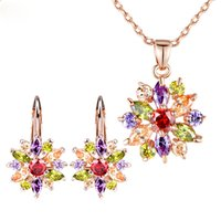 Wholesale Settings For Jewellry - Luxury Gold Color Flower Jewelry Sets For Women Wedding with Colorful AAA Cubic Zircon Jewellry Sets
