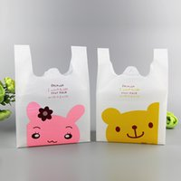 Wholesale Printed Plastic Shopping Bags - Plastic Shopping Bags Smile Bear Printing Cute little rabbit printing Supermarket Fruit Vegetables Food Bags Packing bags Multi Size