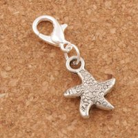 Wholesale Dance Charms Silver - Dancing Flake Star Starfish Sea Star Charms 100pcs lot 12.7x29.5mm Antique Silver Heart Floating Lobster Clasps Charm for Glass Living C123