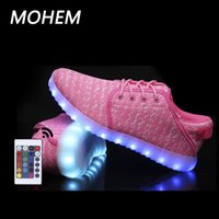Wholesale Shoes Dot Children - 2017 new Baby 7 colors led luminous shoes for boys girls light up casual kids sneaker USB remote control glowing shoes children