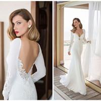 Wholesale Model Castles - New Arrival 2017 Elegant Long Sleeve Mermaid Wedding Dress Vestido De Noiva Chiffon And Spandex Bridal Gowns Robe De Mariee