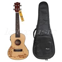 Wholesale Double Acoustic - Wholesale-Kmise Solid Spruce 24 Inch Electro-Acoustic Concert Ukulele UK-24C w Double-shouler Bag Hawaii Guitar